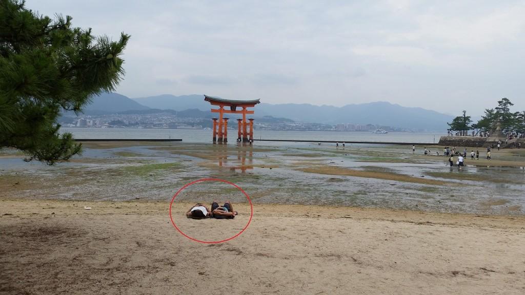 昼寝と厳島神社の鳥居