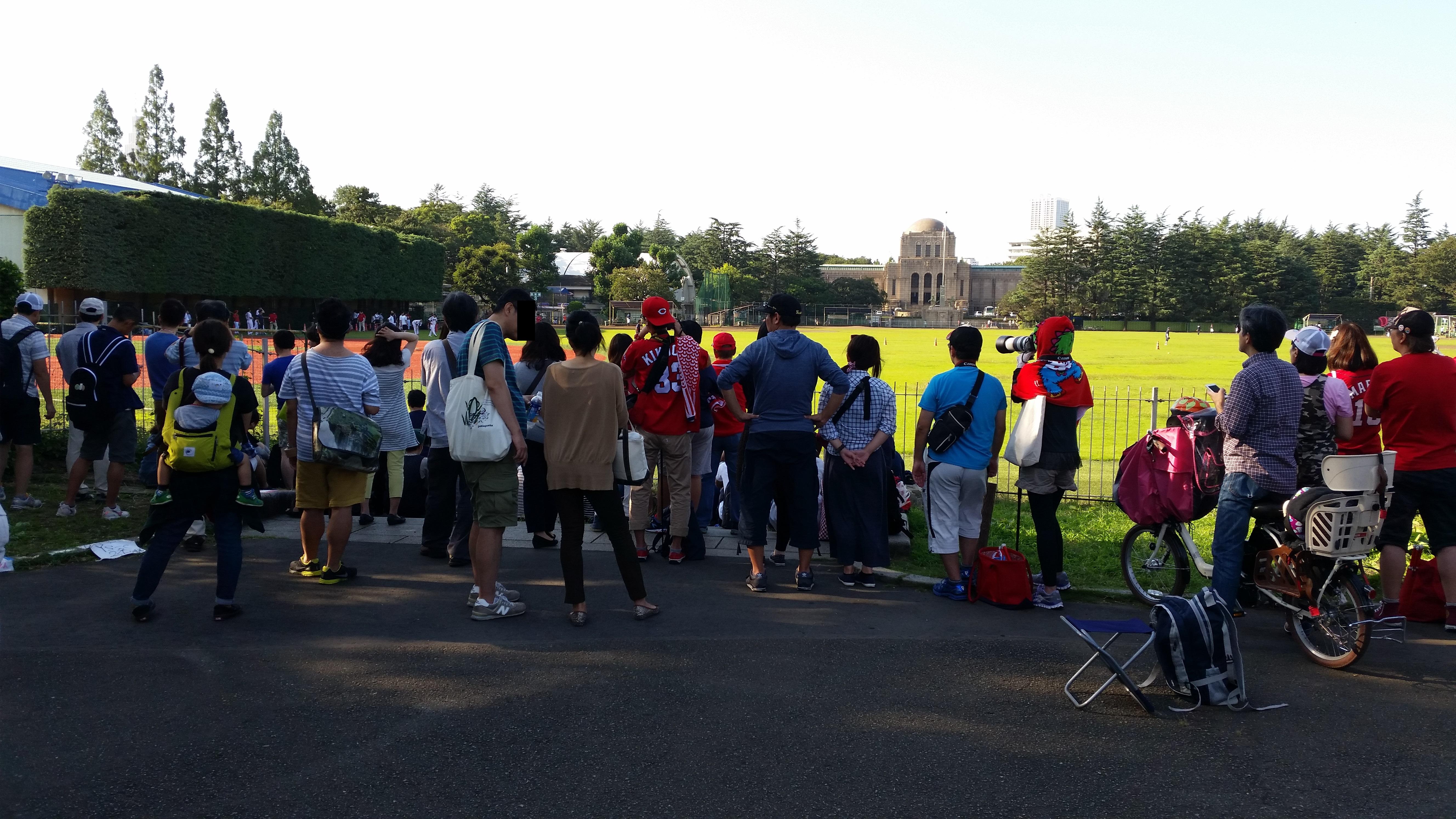 広島カープの練習を見るファン1