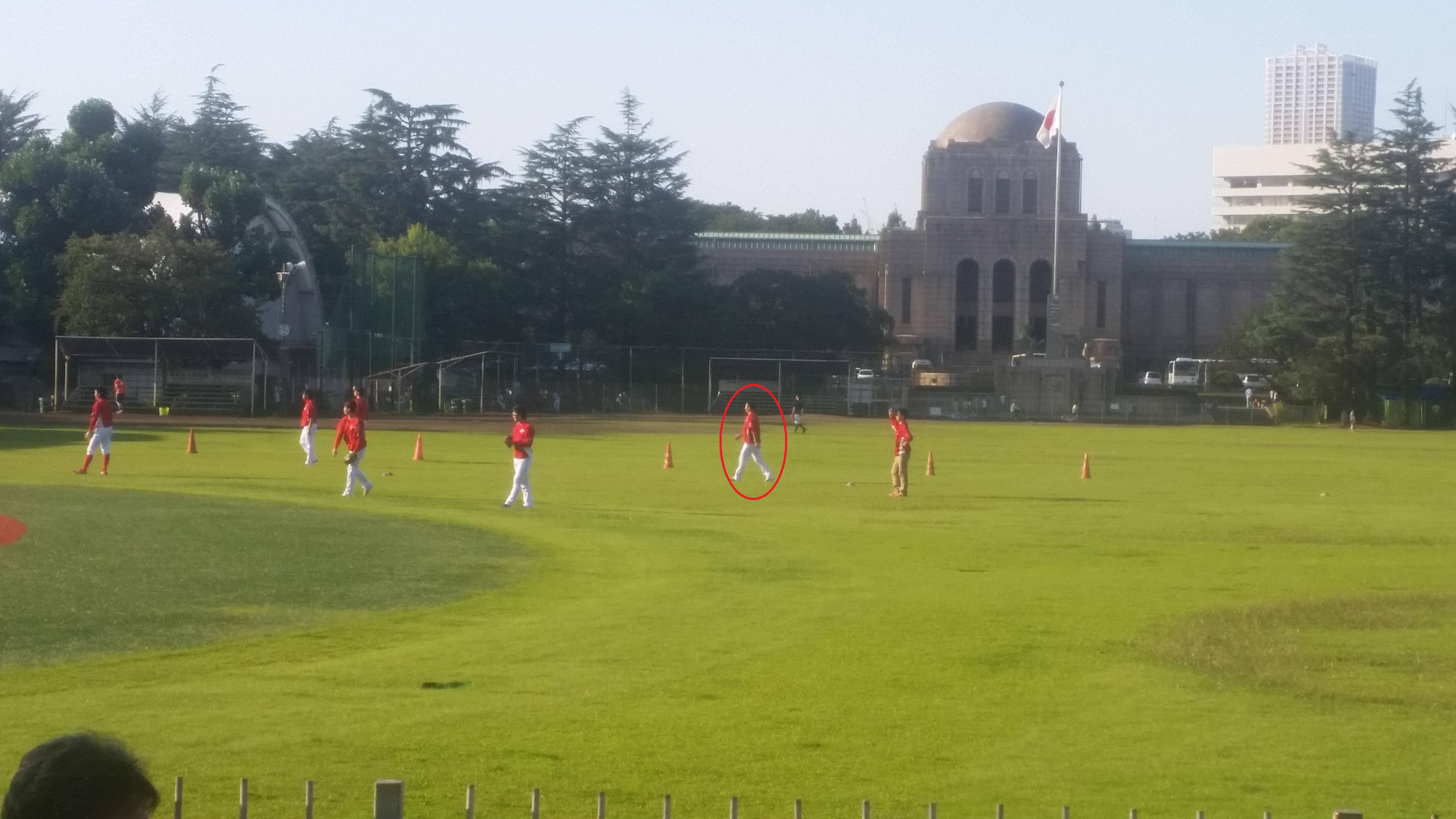 広島カープの黒田投手の練習風景