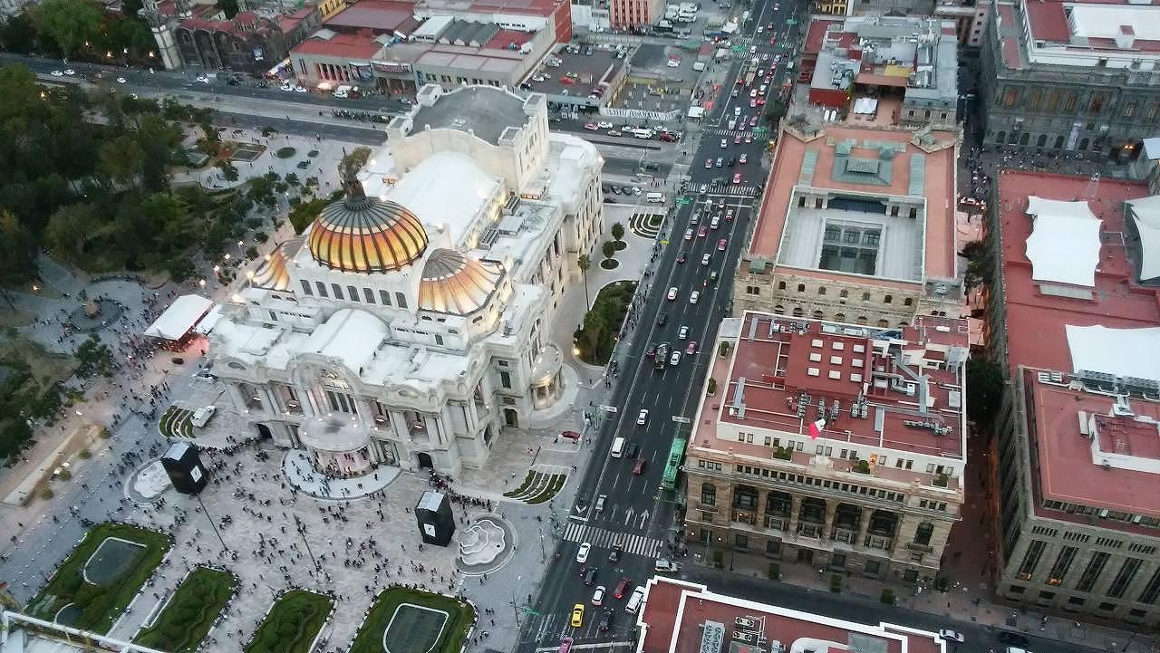 ラテンアメリカタワーからのベジャス・アルテス宮殿
