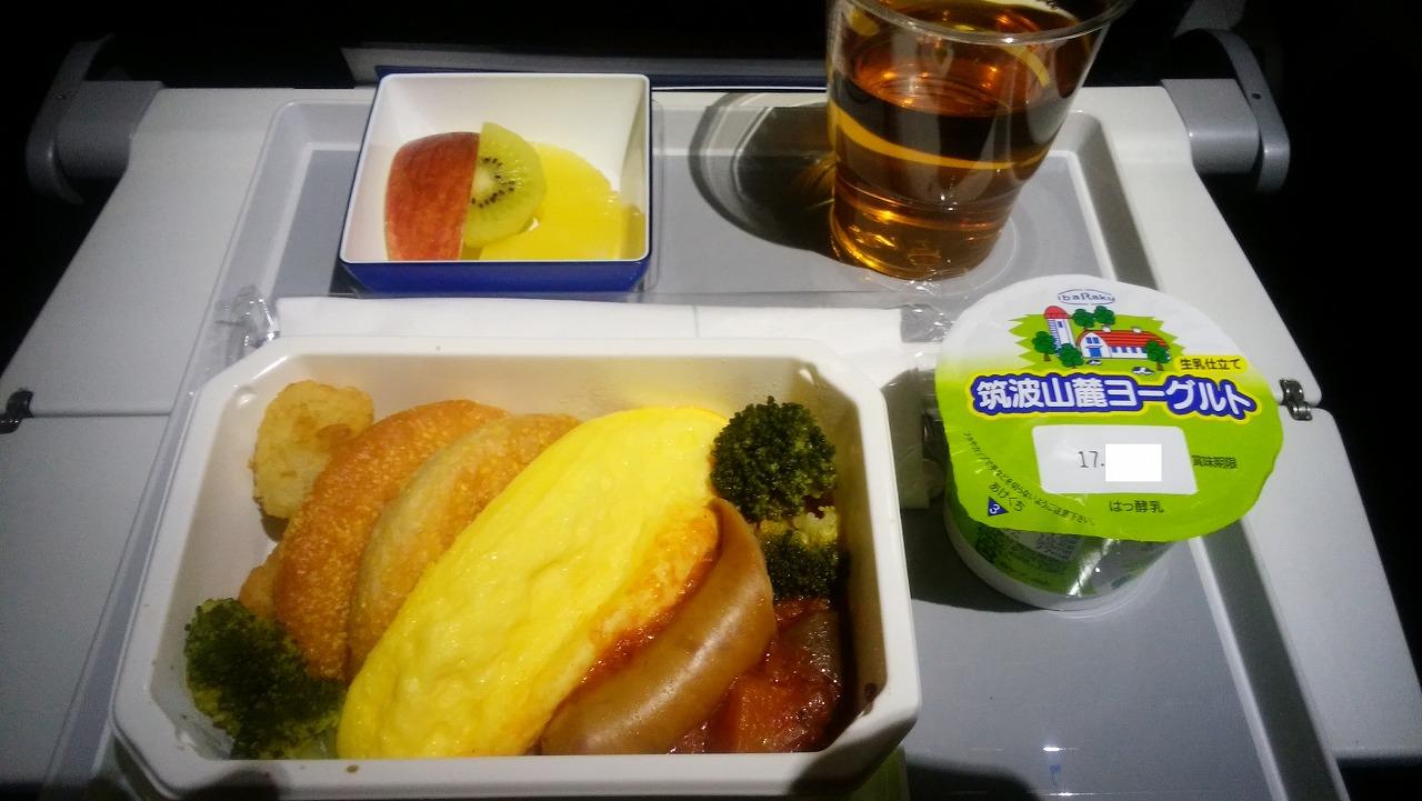 ANAボーイング787メキシコシティー便の機内食