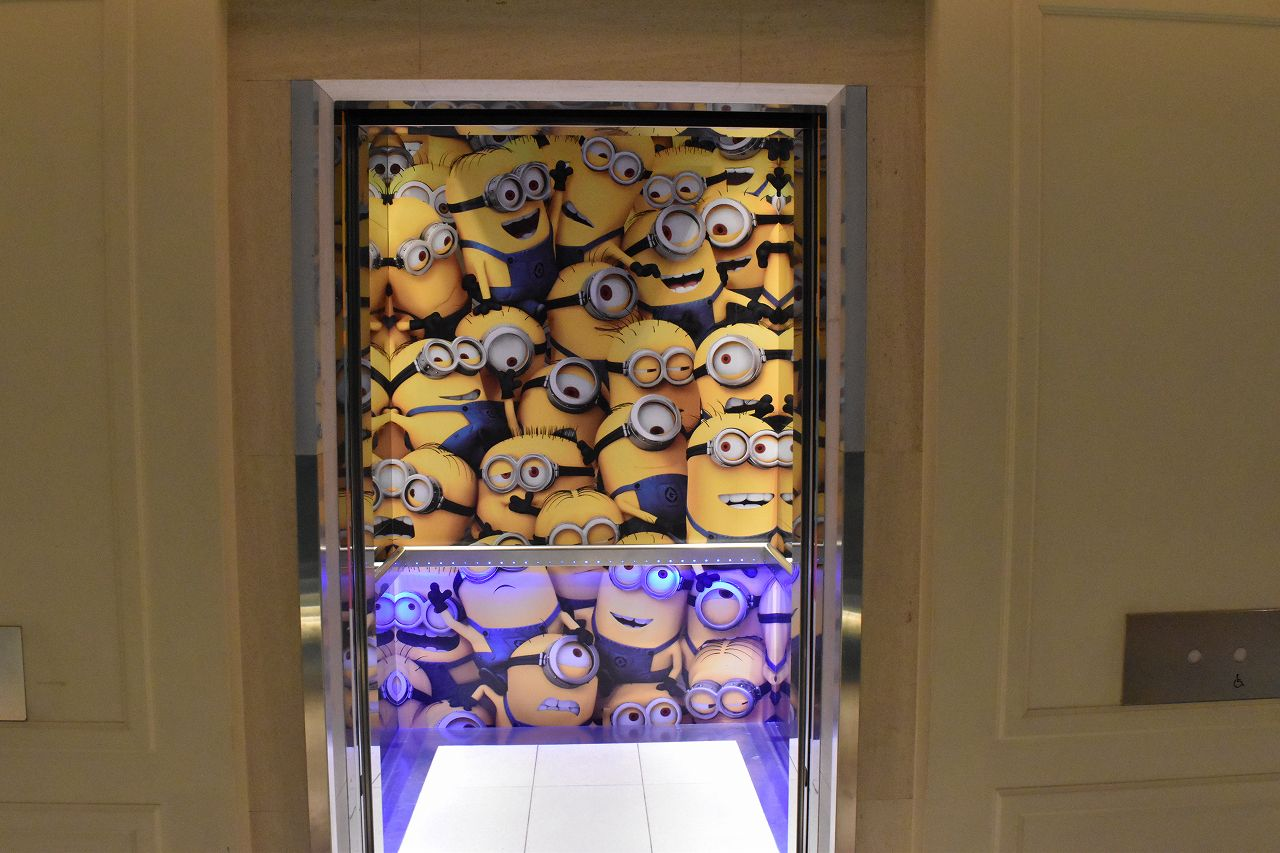 ホテルユニバーサルポートのミニオンのエレベーター