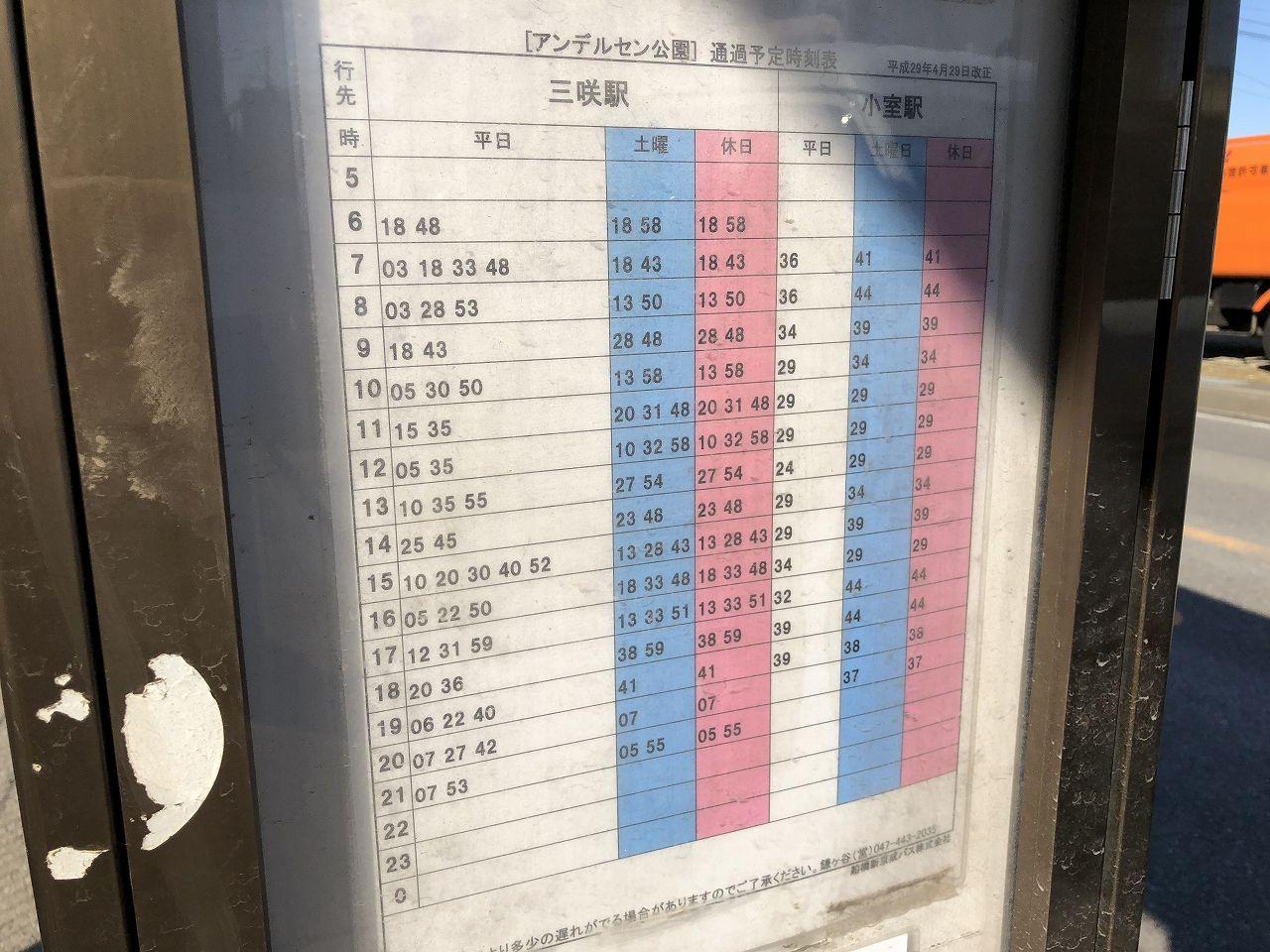 アンデルセン公園から三咲駅へのバス時刻表