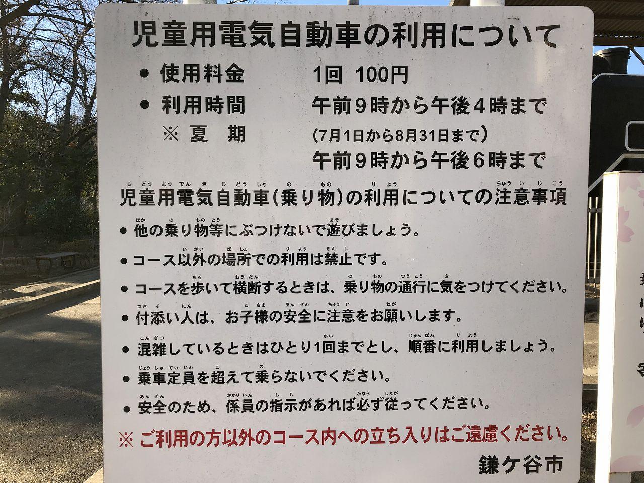 鎌ヶ谷市制記念公園のバッテリーカー